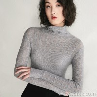 Bugs Romantic hollowing out! Twist Slim High-necked wool sweater bottoming shirt female 2018 new autumn and winter