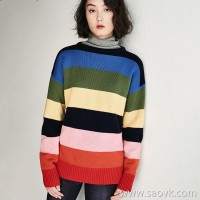 Little worm Merino wool Rainbow striped sweater head round neck slim sweater top female 2018 new