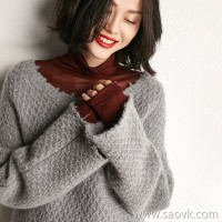 [2 pieces 799 yuan] small insects Inner Mongolia cashmere torn edge lazy wind loose head round neck sweater women winter