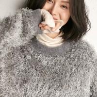 Small insects Italian yarn light luxury noble imitation fur texture lazy wind warm hooded sweater shirt women