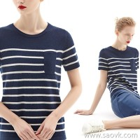 [2 pieces 499 yuan] bug sea spirit stripe small pocket short-sleeved T-shirt fashion bottoming shirt female TE7QMZ016