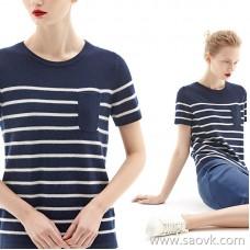 [2 pieces 499 yuan] bug sea spirit stripe small pocket short-sleeved T-shirt fashion bottoming shirt female TE7QMZ016
