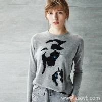 [Three pieces and 20% off] bugs cat print sets of loose loose thin warm sweater sweater women