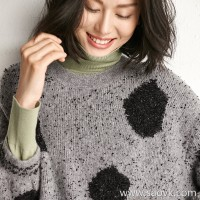 Small insects Italy imported yarn playful wave point round neck pullover short paragraph warm knitted sweater women autumn and winter
