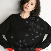 Small worm hot drilling stars rotten cuffs color collar round neck pullover casual cashmere sweater shirt female autumn and winter