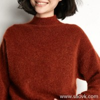 Small insect warm orange mohair half-high collar short paragraph head warm sweater top 2020 new winter clothing