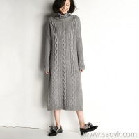 Small worm retro twist sweater dress high collar loose autumn and winter long over the knee wool cashmere knit dress female