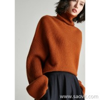 Small worm seamless knit wool cashmere high collar long-sleeved pile pile collar warm loose thin sweater sweater women