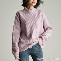 Small worm soft cashmere versatile casual loose half-high collar knit thick sweater top female 2018 new autumn and winter