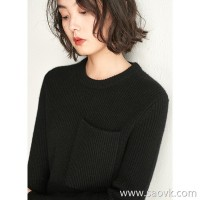 Small insects Arbas cashmere round neck wild open pockets autumn and winter models long sweater sweater women