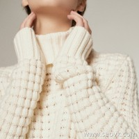 [Three pieces and 20% off] bugs Italian yarn waffle texture high collar wild warm autumn and winter sweater women