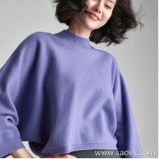 Seamless woven bat sleeve short O-shaped half-high collar wool sweater sweater top female 2018 new
