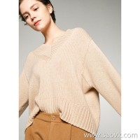Small insects, childlike feelings, lazy wind, short v-neck, loose wool, cashmere sweater, sweater, female winter