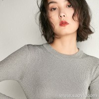 Small worm designer gold and silver silk hooded self-cultivation wild round neck sweater bottoming shirt inside the female autumn and winter
