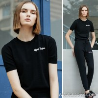 Small CHONG ANGLES Letters Simple Slim Wool Sweater Women's Black Short Sleeve Tops Fall