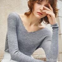 Worm wool V-neck sweater petal collar base long-sleeved thin coat Slim female slim autumn new