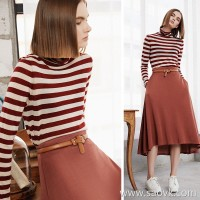 Small worms Australian Merino wool high collar striped long-sleeved sweater women 2018 new autumn shirt thin section
