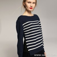 [2 pieces 499 yuan] small insects navy wind stripes open mulberry silk wool round neck pullover sweater women winter