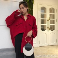 Early autumn blouse long sleeve 2018 Korean version loose lazy wind red port wind retro pocket ulzzang shirt