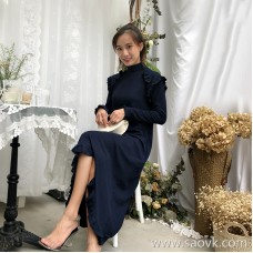 Autumn dress 2018 new women's long sleeves in the long ruffled temperament irregular half-high collar knit skirt