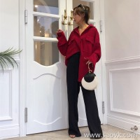 Fall feeling wide leg pants female autumn 2018 Korean version of the high waist black was thin loose mopping vertical straight casual pants