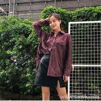 Shirt retro female long sleeve 2018 Korean version early autumn chic loose purple lazy port wind ulzzang shirt