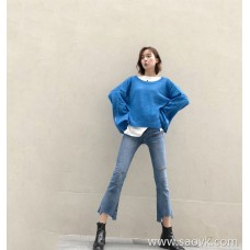 Jeans female 2018 autumn and winter Korean version of the high waist hole micro-la thin skinny nine pants net red with the first love pants