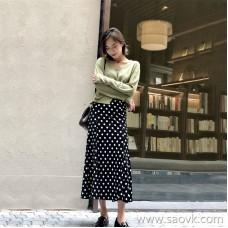 Black polka dot skirt female 2018 autumn and winter long section high waist temperament velvet elastic waist chic bag hip skirt