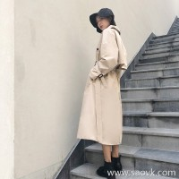 Khaki windbreaker female 2018 Korea long section over the knee temperament loose waist British wind port wind chic coat