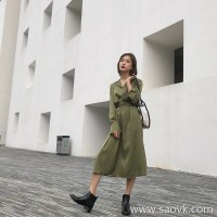 Long-sleeved dress female 2018 new autumn and winter French loose waist bandage long paragraph mustard green temperament dress