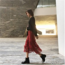 Lace skirt female 2018 Korean version of the autumn and winter long section high waist heavy work hollow elastic waist chic step skirt