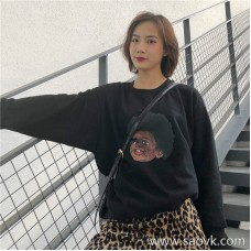 Chic early autumn sweater female 2018 autumn and winter Korean version of the loose sets of round neck black port wind print retro shirt tide