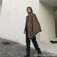 Plaid suit jacket female 2018 autumn and winter Korean retro plaid loose British wind small suit chic jacket