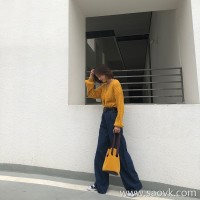 Winter jeans women loose 2018 new autumn and winter high waist loose straight dark retro port wide leg pants tide