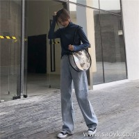 Autumn and winter jeans female 2018 new Korean version of the loose high waist mopping light color straight tube net red feeling wide leg pants tide