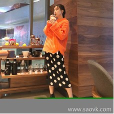 Knit skirt female skirt 2018 autumn and winter new Korean version of the wave point high waist long paragraph over the knee bag hip thick a word