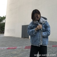 Denim plus velvet jacket female autumn and winter 2018 Korean version loose loose hooded bf fake two short paragraph plus cotton jacket tide