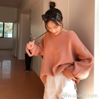 2018 autumn and winter Korean version loose lazy gentle wind head round neck thick ulzzang net red cec sweater women