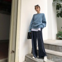 Velvet wide leg pants female autumn and winter 2018 Korean version of the high waist loose drape feeling chic straight pants trousers casual wear