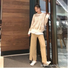 Knit wide leg pants female autumn and winter 2018 new Korean version of chic loose high waist drape thickening straight casual pants