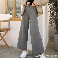 Falling wide leg pants female 2018 Korean version of chic high waist loose thick straight knitting Hong Kong flavor houndstooth micro trousers