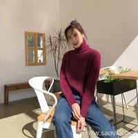High collar sweater female winter Korean version of lazy Feng Shui velvet thickening hood loose side slit retro purple blouse