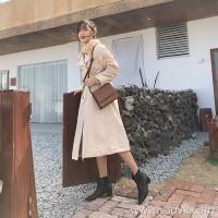 Thick coat female autumn and winter Korean version plus velvet long section over the knee straps waist temperament fur collar design coat