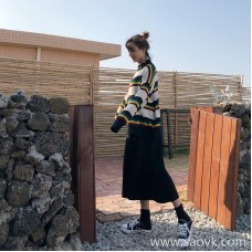 Knitted skirt female autumn and winter straight 2018 high waist thickening split long bag hip slimming wild a word skirt