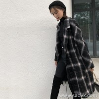Plaid woolen coat female 2018 new autumn and winter Korean version of the long section over the knee small big lapel thick coat