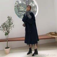 Lamb fur coat female long section winter net red loose thick Dongdaemun round neck suede wool coat