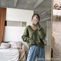 Irregular sweater female 2018 new Korean version of the cardigan design sense of the small harbor wind mustard green two wearing knitted tops