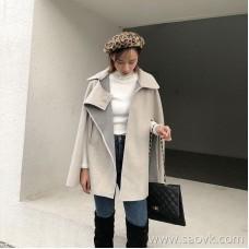 Cloak jacket female autumn and winter 2018 new Korean version of the British students loose bat short woolen coat