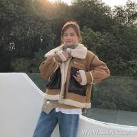 Net red lamb fur coat female short paragraph winter fur one east door thick lap collar i suede chic locomotive suit