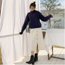Denim skirt female 2018 autumn and winter long paragraph over the knee was thin split fork buckle chic Hong Kong flavor wild a word skirt